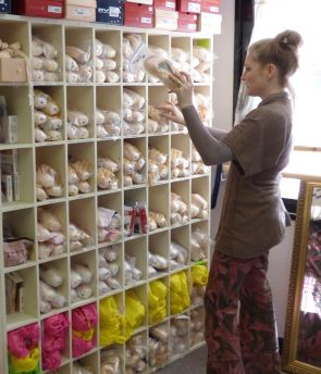 Britt with some of our pointe shoe stock